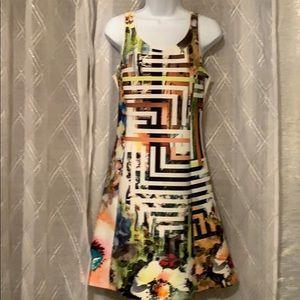 Sleeveless pull on neoprene print dress